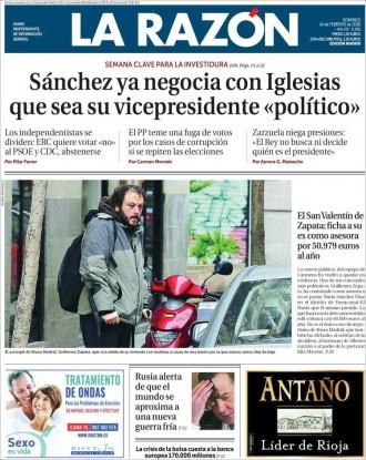 Vés a: «Sánchez ya negocia con Iglesias que sea su vicepresidente 'político'», a la portada de «La Razón»