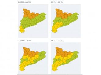 Perill alt per nevades aquest dissabte a Catalunya