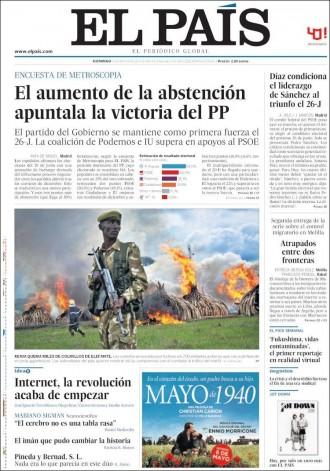 Vés a: «El aumento de la abstención apuntala la victoria del PP», a la portada d'«El País»