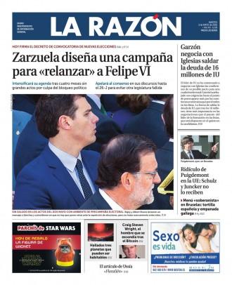 Vés a: «Zarzuela diseña una campanya para relanzar a Felipe VI», a la portada de «La Razón»