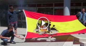 Vés a: Cremen una bandera franquista a la UAB per denunciar la presència de neonazis