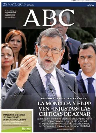 Vés a: Les crítiques «injustes» d'Aznar a Rajoy, a la portada de l'«ABC»