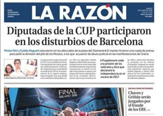 Vés a: «Diputadas de la CUP participaron en los disturbios de Barcelona», a la portada de «La Razón»