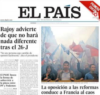 Vés a: «Rajoy advierte de que no hará nada diferente tras el 26-J», a la portada d' «El País»