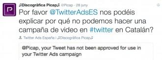 Twitter veta el català en una campanya de la discogràfica Picap