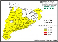 Vés a: MAPA El risc d'incendis forestals cau a totes les comarques catalanes