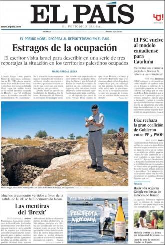 Vés a: «El PSC vuelve al modelo canadiense para Cataluña», a la portada d'«El País»