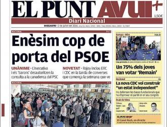 Vés a: «Enèsim cop de porta del PSOE», a la portada d'«El Punt Avui»