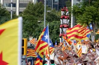 Els castells, protagonistes de la imatge de les mobilitzacions de la Diada
