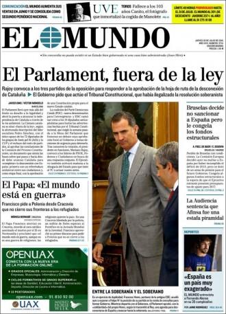 Vés a: «El Parlament, fuera de la ley», a la portada d'«El Mundo»