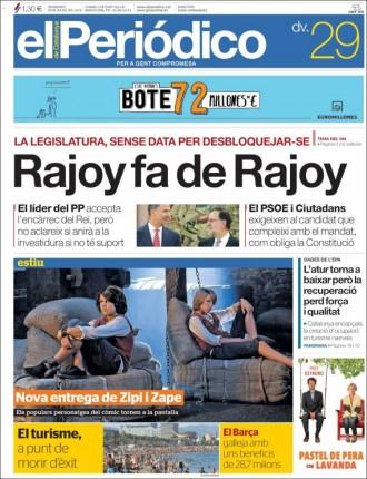 Vés a: «Rajoy fa de Rajoy», a la portada d'«El Periódico»