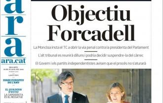 Vés a: «Objectiu Forcadell», a la portada de«L'Ara»
