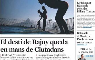 Vés a: «El destí de Rajoy a mans de Ciutadans», a la portada de «La Vanguardia»