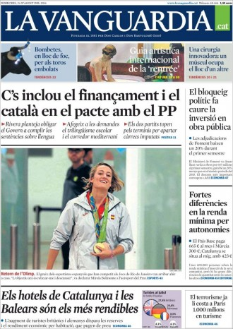 Vés a: «C's inclou el finançament i el català en el pacte amb el PP», a la portada de «La Vanguardia»