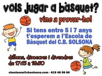 El C.B. Solsona té obertes les inscripcions per a la temporada 2016-2017 a la seva Escola de Bàsquet