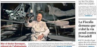 Vés a: «La Fiscalia demana que s'obri la via penal contra Forcadell», a la portada de «La Vanguardia»