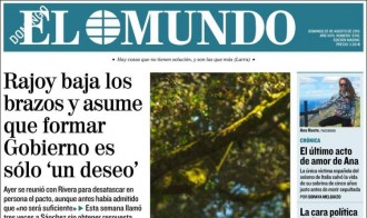 Vés a: «Rajoy assumeix que formar Govern és només 'un desig'», a la portada d'«El Mundo»