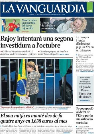 Vés a: «El sou mitjà es manté des de fa quatre anys en 1.638 euros al mes», a la portada de «La Vanguardia»