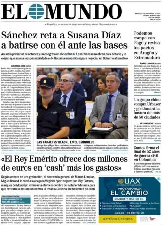 Vés a: Joan Carles I va intentar subornar Manos Limpias amb 2 milions d'euros, a la portada d'«El Mundo»
