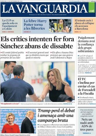 Vés a: «El TC s'inclina per enviar Forcadell a la Fiscalia», a la portada de «La Vanguardia»