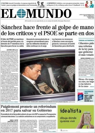 Vés a: «Puigdemont promete un referéndum el 2017 para salvar su Gobierno», a la portada d'«El Mundo»