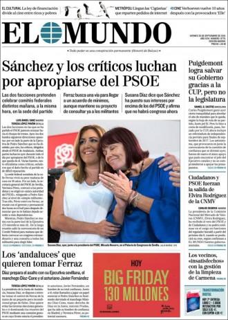 Vés a: «Puigdemont logra salvar su Gobierno gracias a la CUP, però no la legislatura», a la portada d'«El Mundo»