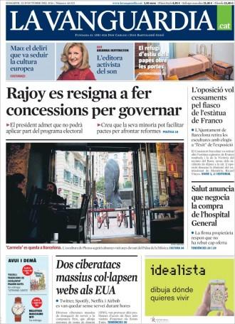Vés a: «L'oposició vol cessaments pel fiasco de l'estàtua de Franco» , a la portada de «La Vanguardia»