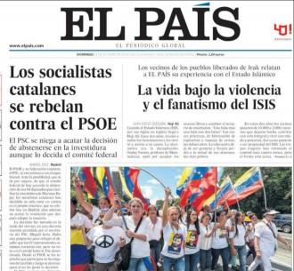 Vés a: «Los socialistas catalanes se rebelan contra el PSOE» , a la portada d'«El País»