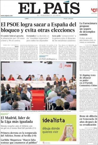 Vés a: «El PSOE logra salvar España del bloqueo y evita otras elecciones» , a la portada d'«El País»