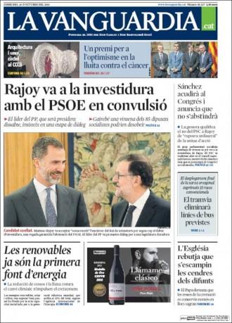 Vés a: Pedro Sánchez també votarà «no» a Rajoy, a la portada de «La Vanguardia»