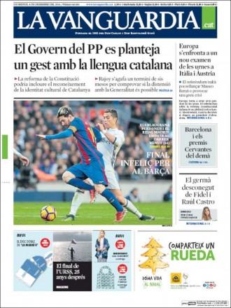 Vés a: «El Govern del PP es planteja un gest amb la llengua catalana», a la portada de «La Vanguardia»