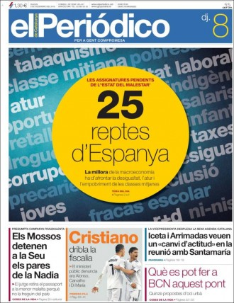 Vés a: «Cristiano dribla la fiscalia», a la portada d'«El Periódico»