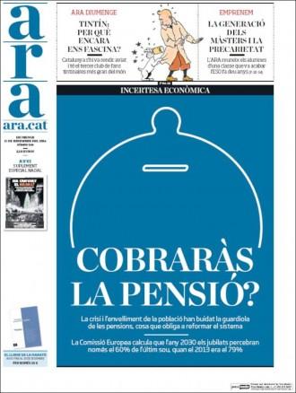 Vés a: «Cobraràs la pensió?», a la portada de l'«Ara»