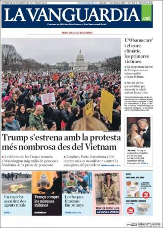 Vés a: «Trump s'estrena amb la protesta més nombrosa des del Vietnam», a la portada de «La Vanguardia»