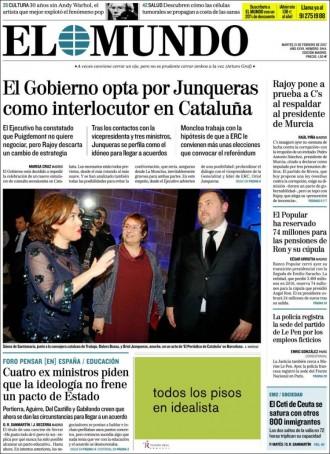 Vés a: «El Gobierno opta por Junqueras como interlocutor en Cataluña», a la portada d'«El Mundo»