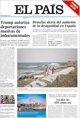 Vés a: «Bruselas alerta del aumento de la desigualdad en España», a la portada d'«El País»