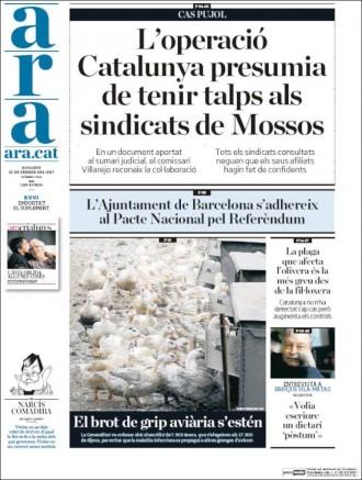 Vés a: «L'operació Catalunya presumia de tenir talps als sindicats dels Mossos», a la portada de l'«Ara»