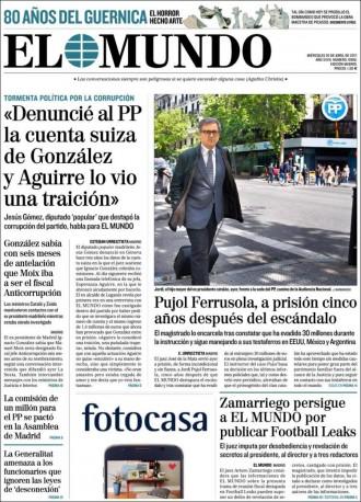 Vés a: Aguirre va menystenir el diputat del PP que va denunciar la trama de González, a la portada d'«El Mundo»