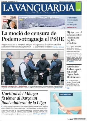 Vés a: «L'actitud del Màlaga fa témer al Barça un final adulterat de la Lliga», a la portada de «La Vanguardia»