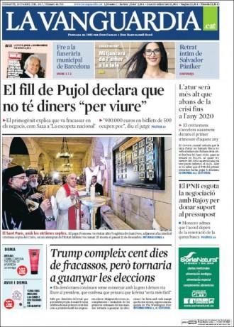 Vés a: «El fill de Pujol declara que no té diners 'per viure'», a la portada de «La Vanguardia»