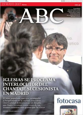 Vés a: «Iglesias se proclama interlocutor del chantaje secesionista en Madrid», a la portada de l'«ABC»