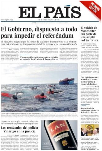 Vés a: PORTADES «El Gobierno, dispuesto a todo para impedir el referéndum», a «El País»