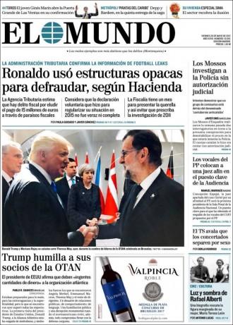 Vés a: «Los Mossos investigan a la policia sin autorización judicial», a la portada d'«El Mundo»
