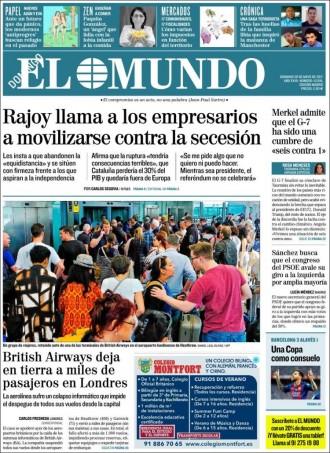 Vés a: «Rajoy llama a los empresarios a movilizarse contra la secesión», a la portada d'«El Mundo»