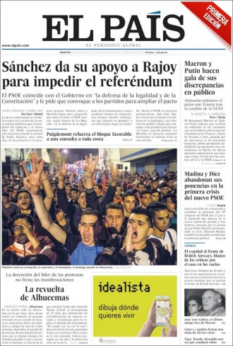 Vés a: «Sánchez da su apoyo a Rajoy para impedir el referéndum», a la portada d'«El País»