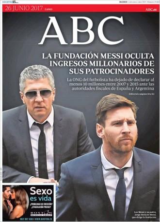 Vés a: «La Fundación Messi oculta ingresos millonarios de sus patrocinadores», a la portada d'«ABC»