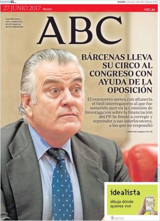 Vés a: «Bárcenas lleva su circo al Congreso con ayuda de la oposición», a la portada d'«ABC»