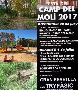 La inauguració del Parc Infantil donarà el tret de sortida a la Festa del Camp del Molí
