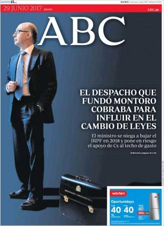 Vés a: «El despacho que fundó Montoro cobraba para influir en el cambio de leyes», a la portada d'«ABC»
