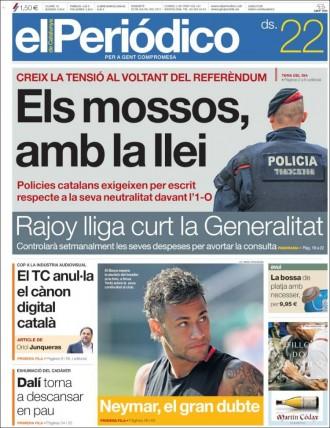 Vés a: PORTADES «Els mossos, amb la llei», a «El Periódico»